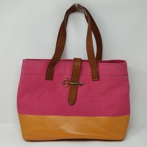 Fossil Austin Canvas Shop Tote Handbag Pink/Orange